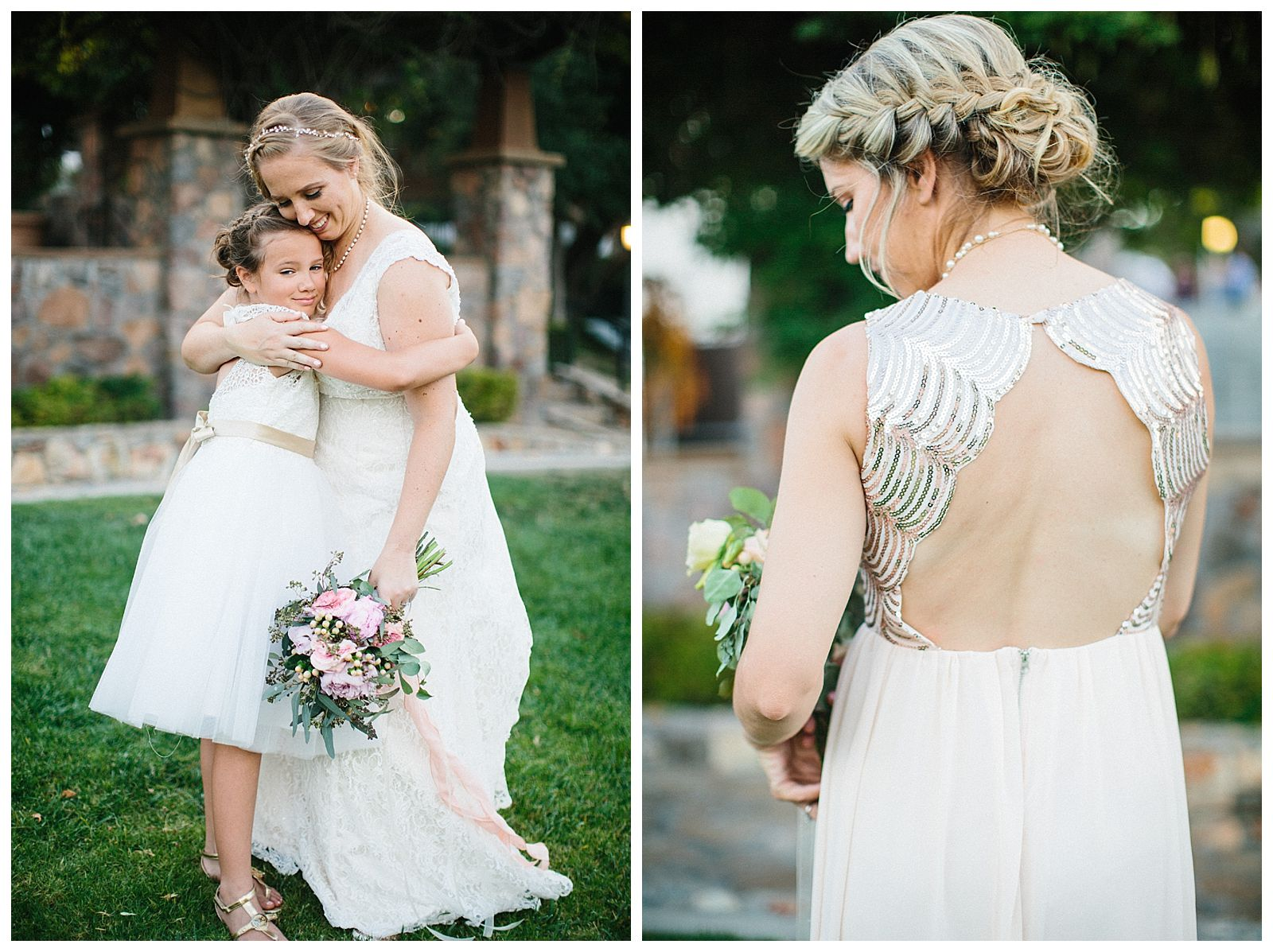 Sammie B , Bride and flower girl, backless bridesmaid dress