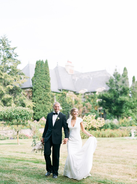 English Garden reception with wedding couple
