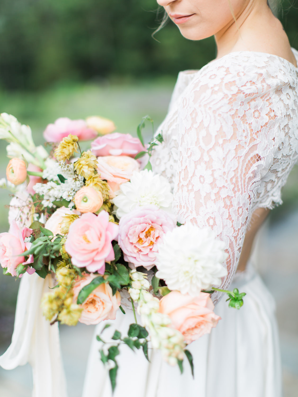 organic and modern wedding bouquet with a spring color palette